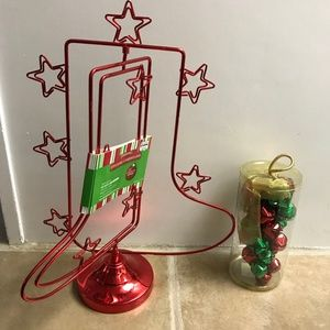 Bundle Xmas Spinning Card Holder + Bells NWT